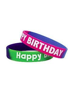 Fancy Happy Birthday Two-Toned Wristbands