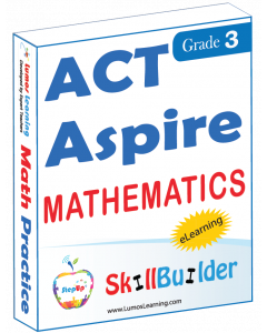 Lumos StepUp SkillBuilder + Test Prep for ACT Aspire: Online Practice Assessments and Workbooks - Grade 3 Math