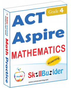 Lumos StepUp SkillBuilder + Test Prep for ACT Aspire: Online Practice Assessments and Workbooks - Grade 4 Math