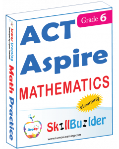 Lumos StepUp SkillBuilder + Test Prep for ACT Aspire: Online Practice Assessments and Workbooks - Grade 6 Math