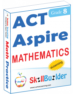 Lumos StepUp SkillBuilder + Test Prep for ACT Aspire: Online Practice Assessments and Workbooks - Grade 8 Math
