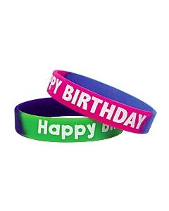 Fancy Happy Birthday Two-Toned Wristbands