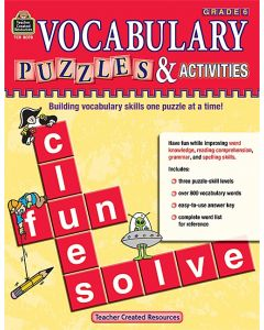 Vocabulary Puzzles & Activities, Grade 6