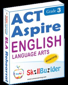 Lumos StepUp SkillBuilder + Test Prep for ACT Aspire: Online Practice Assessments and Workbooks - Grade 3 ELA