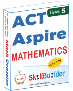 Lumos StepUp SkillBuilder + Test Prep for ACT Aspire: Online Practice Assessments and Workbooks - Grade 5 Math