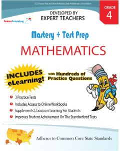 CCSS Practice Test and Workbooks - Mastery and Test Prep Grade 4 Math (25 Student Books and 1 Teacher Guide)