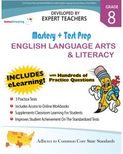 CCSS Practice Test and Workbooks - Mastery and Test Prep Grade 8 ELA (25 Student Books and 1 Teacher Guide)