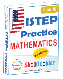Lumos StepUp SkillBuilder + Test Prep for ISTEP+: Online Practice Assessments and Workbooks - Grade 4 Math