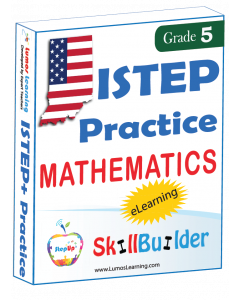 Lumos StepUp SkillBuilder + Test Prep for ISTEP+: Online Practice Assessments and Workbooks - Grade 5 Math