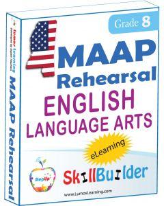 Lumos StepUp SkillBuilder + Test Prep for MAAP: Online Practice Assessments and Workbooks - Grade 8 ELA